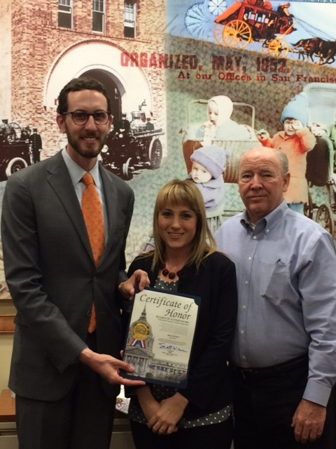 Nicole Russo receives an award from Scott Wiener and Robert Roddick, President of the Noe Valley Merchant's Association, in recognition of her business for five years in the Noe Valley neighborhood. The Board of Supervisors of the City and County of San Francisco extends its highest commendation. Congratulations Nicole for your hard work and dedication!!