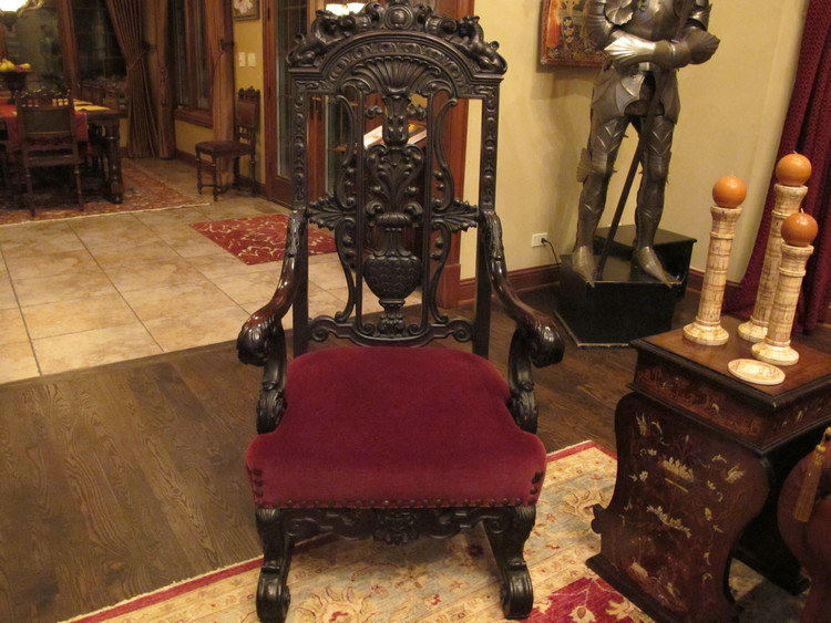 Antique Gothic Style Ebonized Throne Chair - Antique Gothic Style Ebonized Throne Chair — Revival House