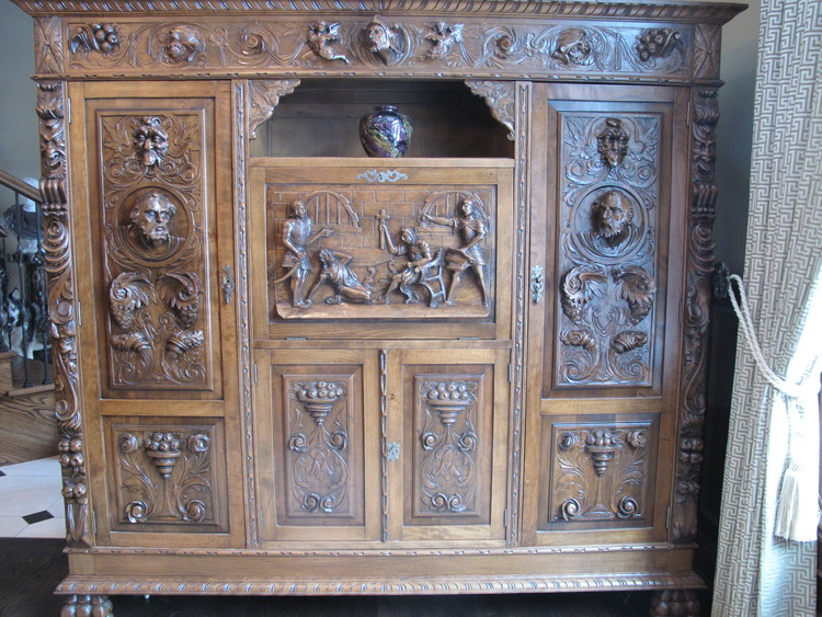 Early 20th Century Figural Carved Spanish Bookcase - Early 20th Century Figural Carved Spanish Bookcase — Revival House