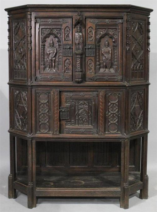 Gothic Revival Knight's Carved Oak Court Cupboard - Gothic Revival Knight's Carved Oak Court Cupboard — Revival House