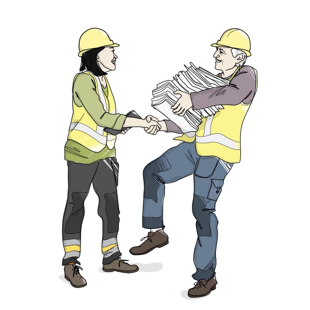 Handing over papers