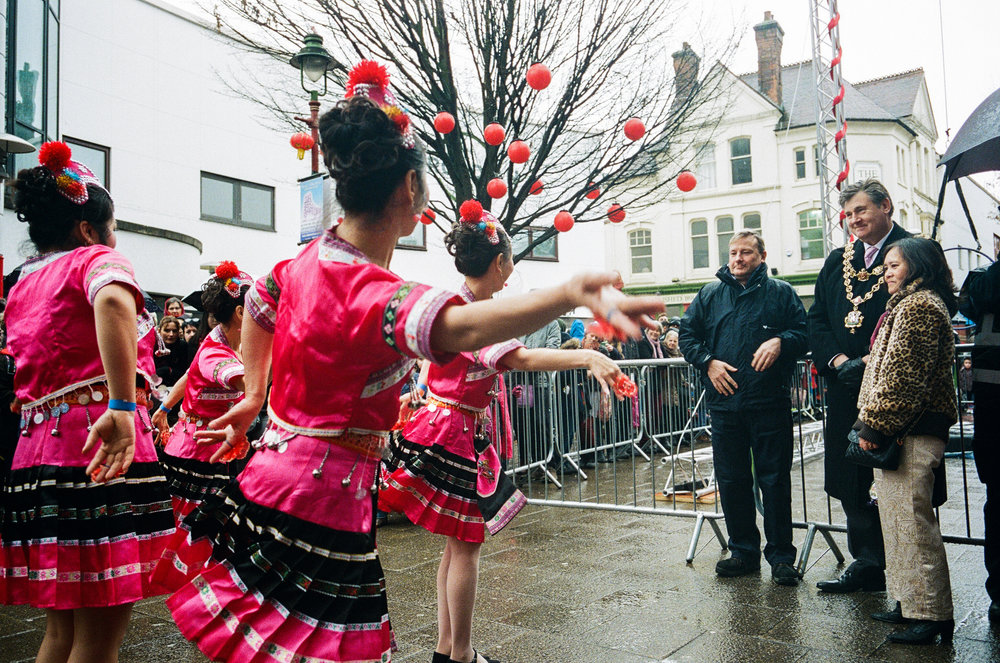 Traditional Chinese dancers perform to the mayor - Clifford Darby 2017