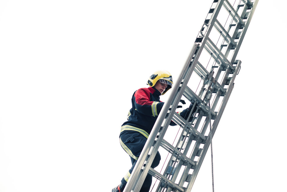 Climbing the ladder during the mock drill - Clifford Darby 2017