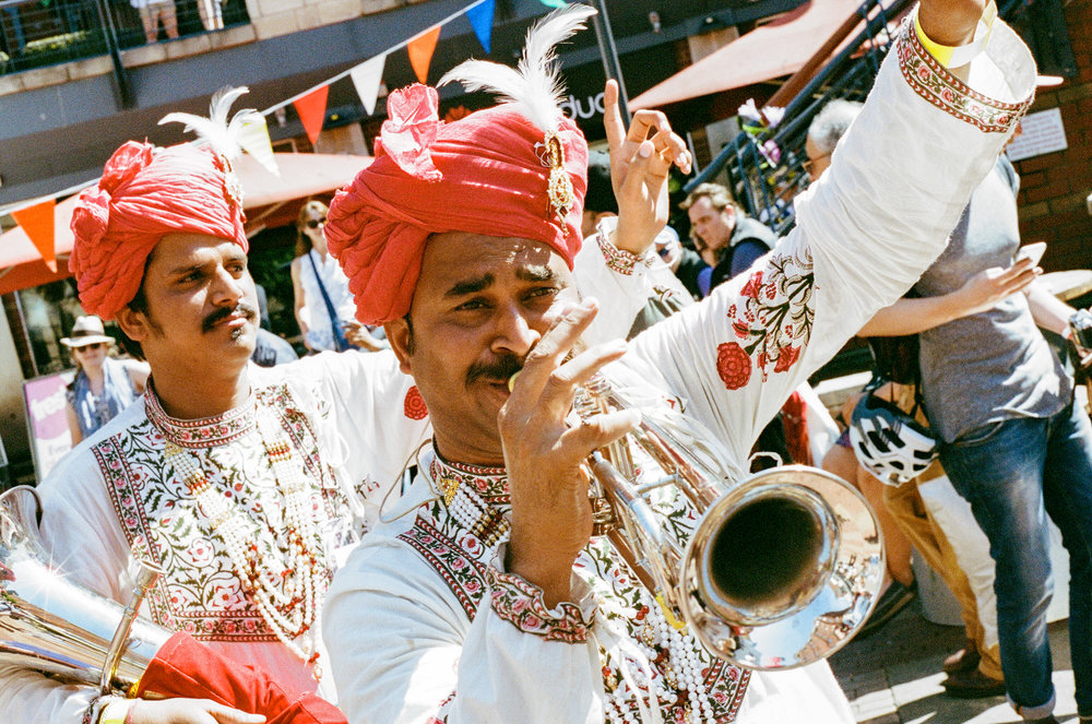Rajasthan Heritage Brass Band, Summer in Southside, Birmingam. United Kingdom. 2017.