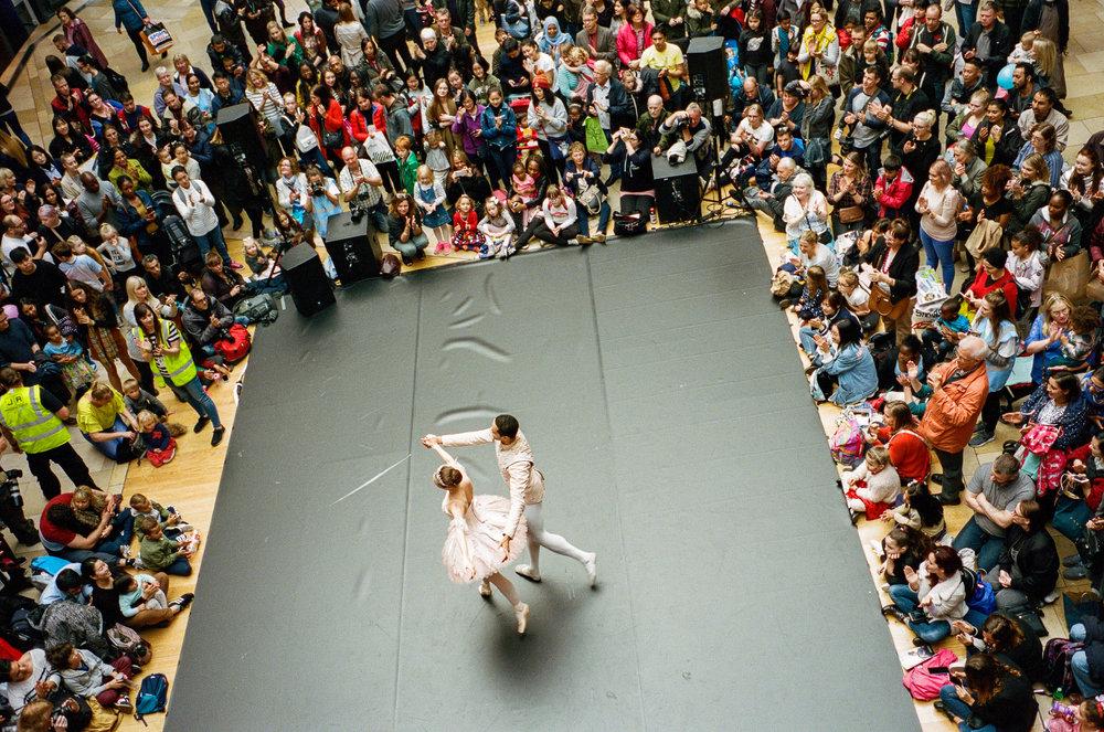 Birmingham Royal Ballet performs in the Bull Ring during the Birmingham Weekender, Birmingham. United Kingdom. 2017.