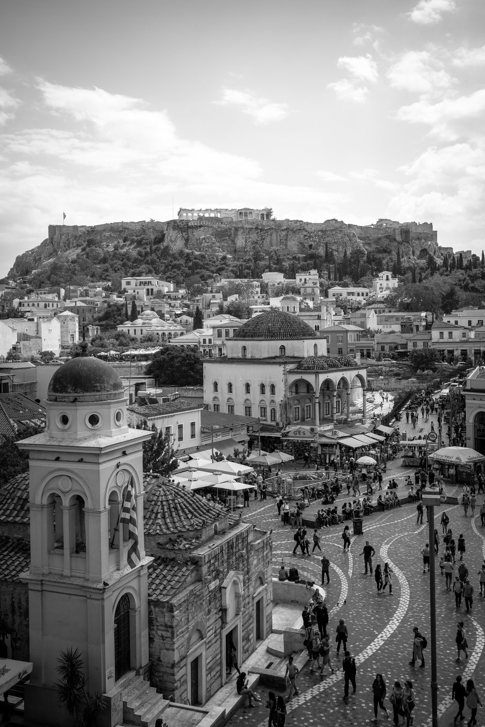Monastiraki Square looking towards the Acropolis, Athens. Greece. 2018.