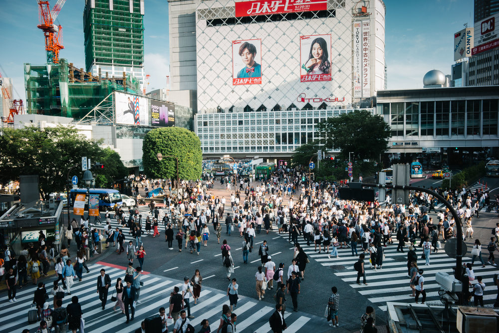 Shibuya Crossing is one of the busiest intersections in the world with over 1,000 people crossing during peak times. Tokyo. Japan. 2017.