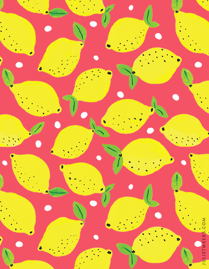 Lemon gouache painting pattern