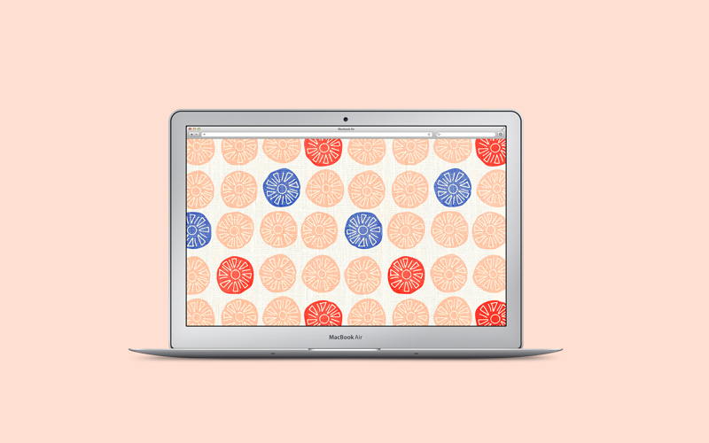 Free Desktop Wall Paper - Vintage Alexander Girard Inspired Textile Pattern