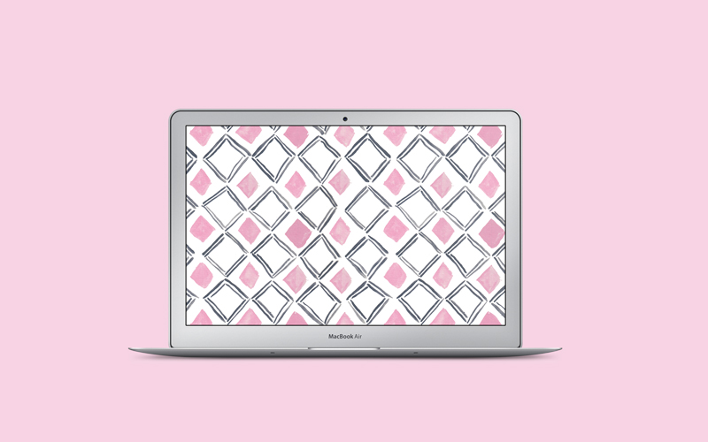 Watercolor diamond pattern desktop freebie