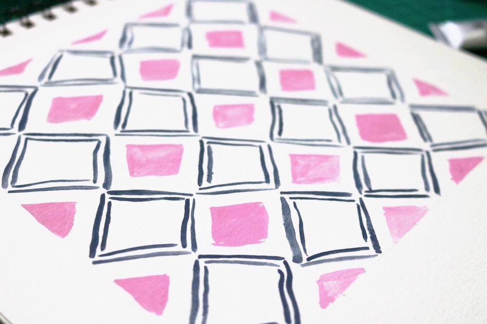 Diamond watercolor pattern
