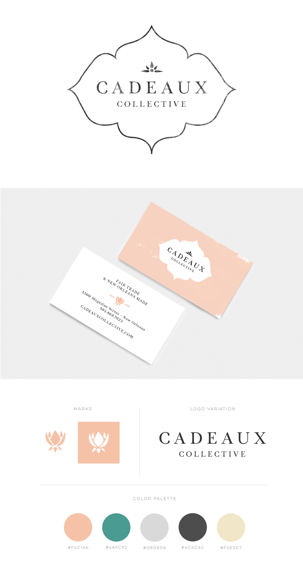 Cadeaux Collective Branding by Juliet Meeks Design | Refined yet with a handmade feel logo design and branding for a fair trade and handmade good pop up boutique.