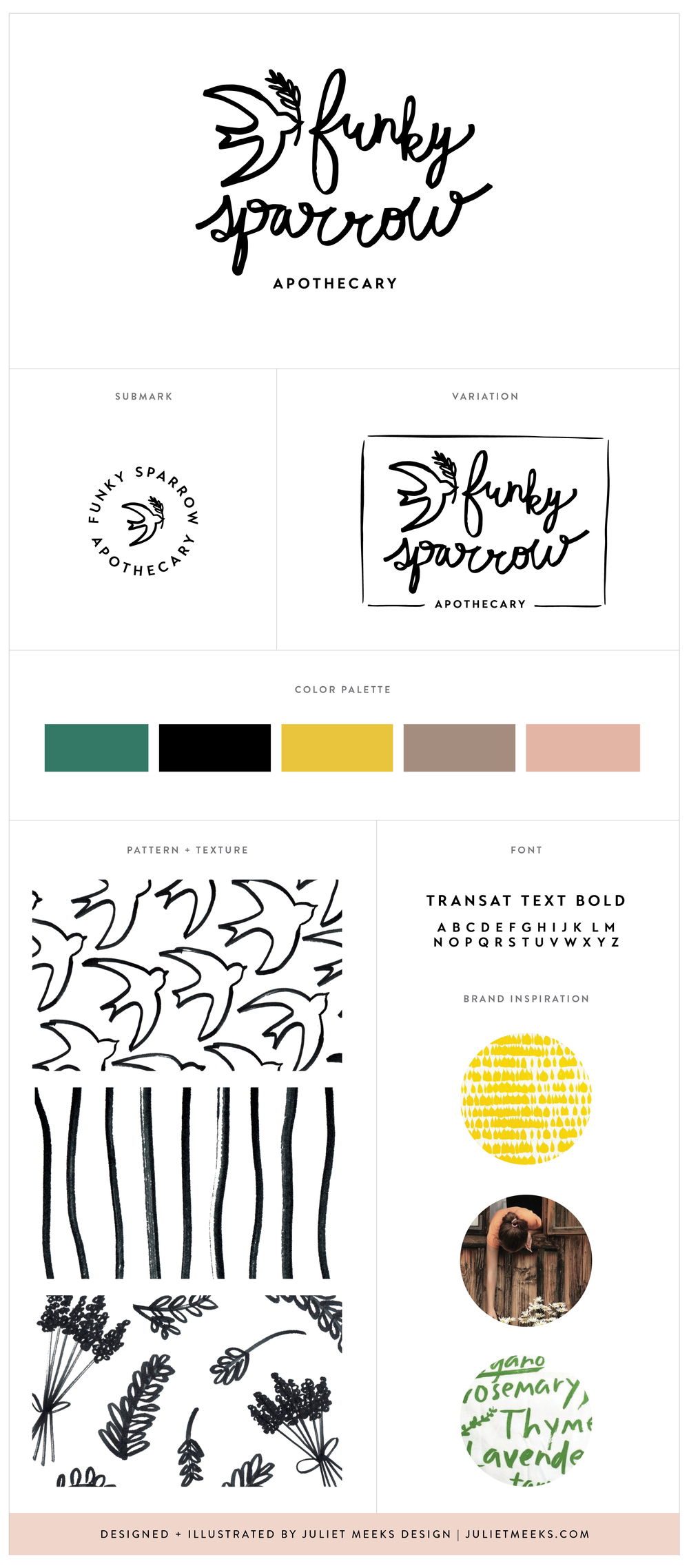 Funky Sparrow Branding and Lettering by Juliet Meeks Design