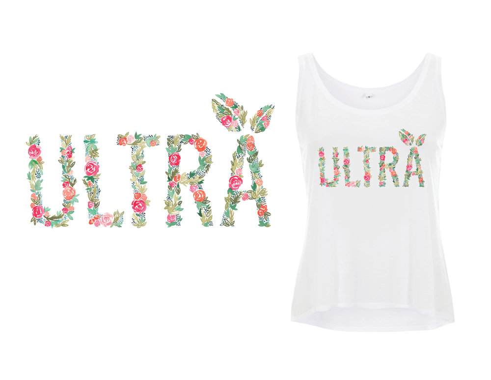 Custom watercolor lettering for a tank design.