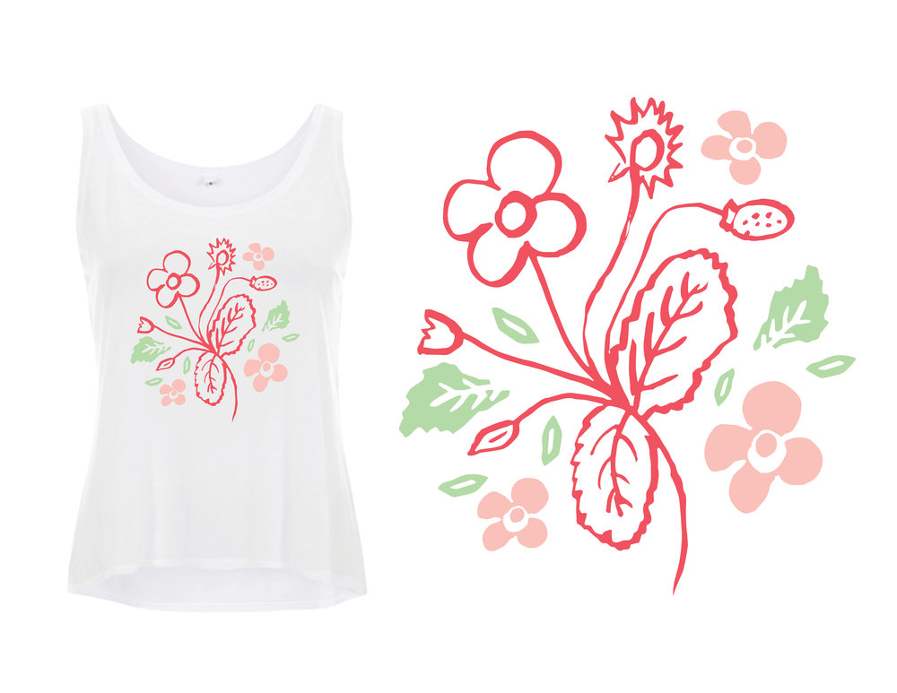 """Colorful floral tank design - """"Strawberry Flowers"""""""