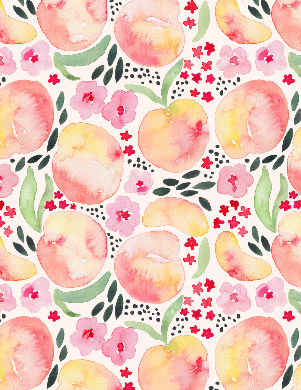 Juliet Meeks Paaches Watercolor Pattern
