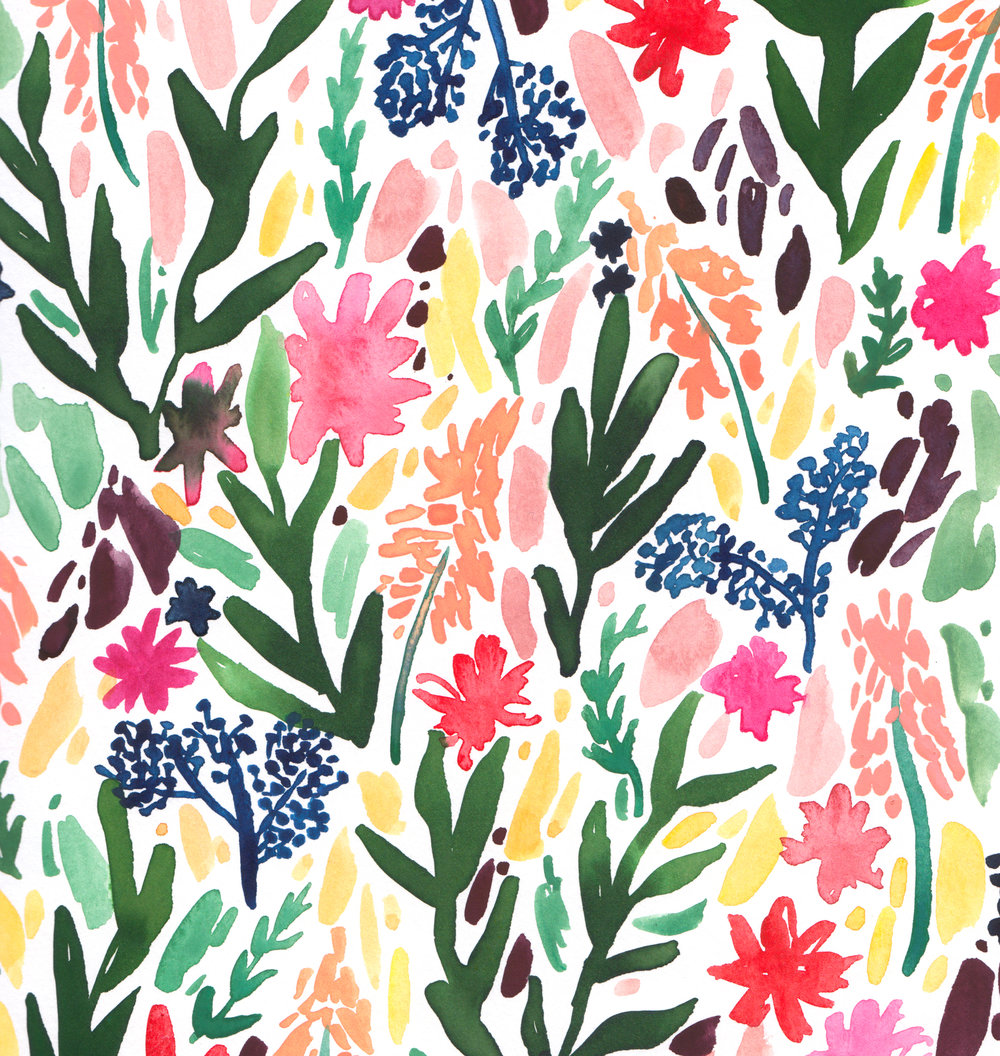 Juliet Meeks Falling Flowers Watercolor Pattern