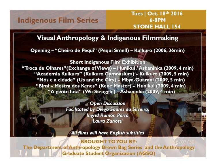 Visual Anthropology and Indigenous Filmmaking   The brownbag series (Department of Anthropology, Purdue) is pleased to bring to you the first of series Indigenous Filmmaking events this year. We celebrate the work of Videos nas Aldeias (VNA), a non-governmental organization that pioneered collaborative and Indigenous media-making projects in Brazil.