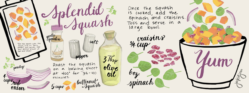 This recipe layout was created for They Draw and Cook  Check it out here:    https://www.theydrawandcook.com/illustrations/10547-splendid-squash
