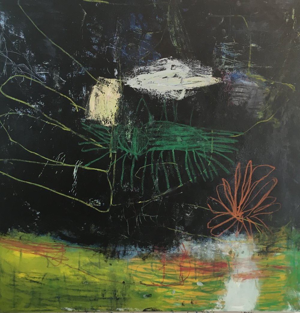 scramble 60x60 in oil on canvas 2018