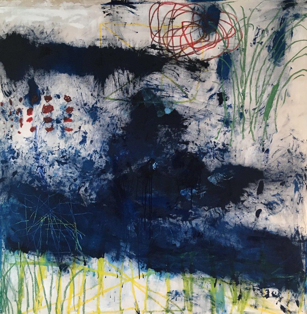 Scrape 75x75 in oil on canvas 2018