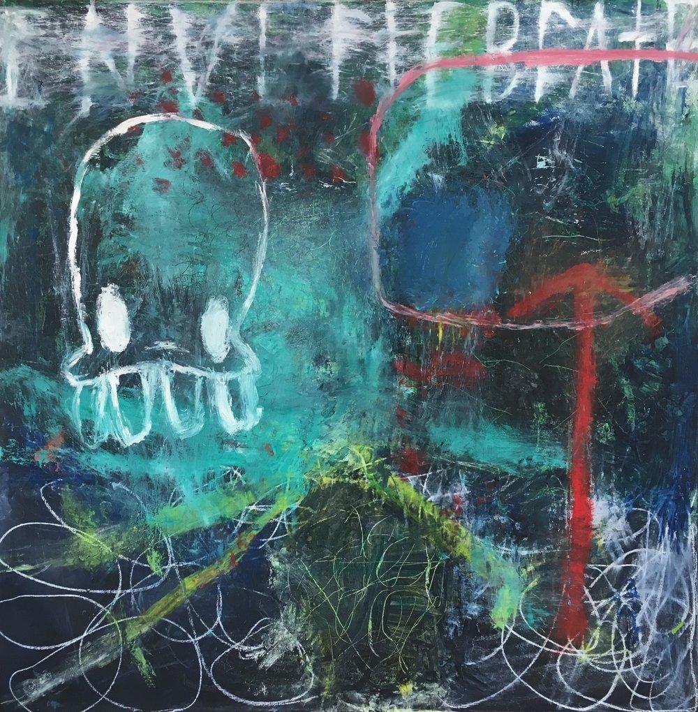 Invertebrate 72x72 in oil on canvas 2019