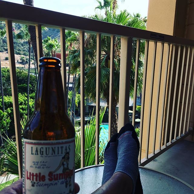 After 3 days in Disneyland, I'm putting my feet up for a bit. Trying to get myself to head downtown for Preview Night🤓 #SDCC2018 #toocomfy #lagunitasbrewing