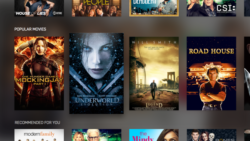 Movie tray scrolled