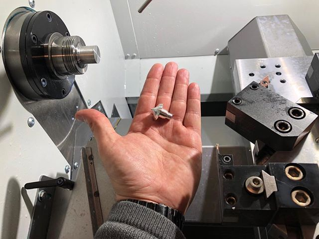 """""""ELLOW POPPET!!"""" First real part on the new @haas_automation CL-1 lathe! This thing makes fantastic little parts!"""
