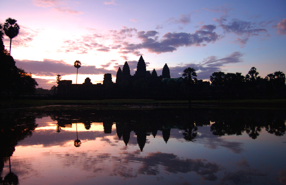 Woke up at 4am to catch this sunrise at the famous Angkor Wat.