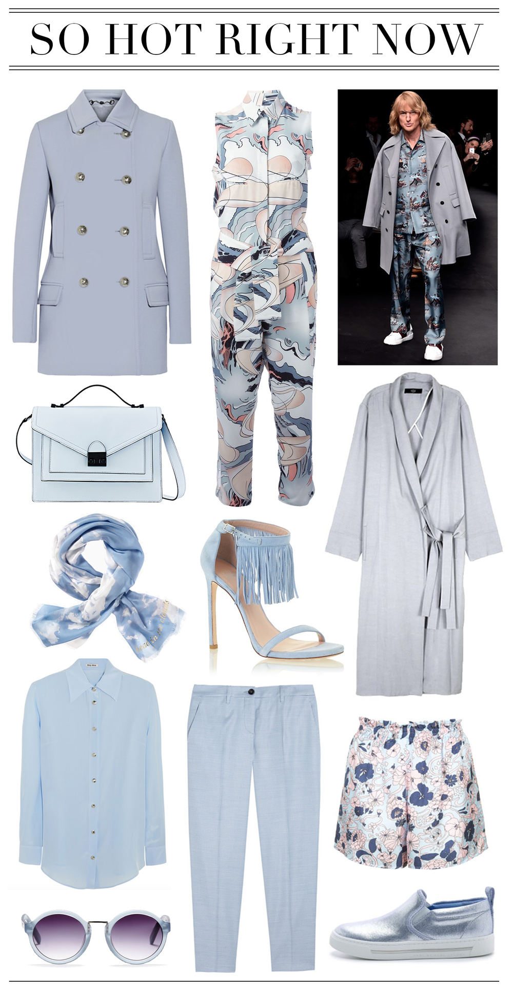 Left to right, top to bottom: 1. Gucci Wool-Crepe Coat2. MaisonMarginal Abstract Print Jumpsuit3. Loeffler Randal Rider Bag4.Tibi Kimono Maxi Coat 5. Kate Spade Day Sky Square Scarf (Day, D-A-I-Y-E. Okay?) 6. Stuart Weitzman Lovefringe7. Miu Miu Washed Silk Shirt8.Miu Miu Houndstooth Stretch-Woven Straight Leg Pants 9. Topshop Silk Swirly Floral Print Shorts10. Whistles Daria Round Frosted Sunglasses11.Marc by Marc Jacobs Cute Kicks