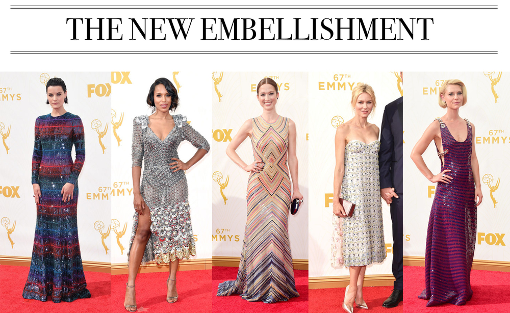 Let's all exhale a massive sigh of relief that the almost-naked-embellishment look of the Met Gala didn't repeat itself.Enter: classic cuts, full coverage and unique embellishments and patterns. Jamie Alexander in Armani Prive,Kerry Washington in Marc Jacobs, Ellie Kemper in Naeem Khan,Naomi Watts in Dior Couture, Claire Danes in Prada.