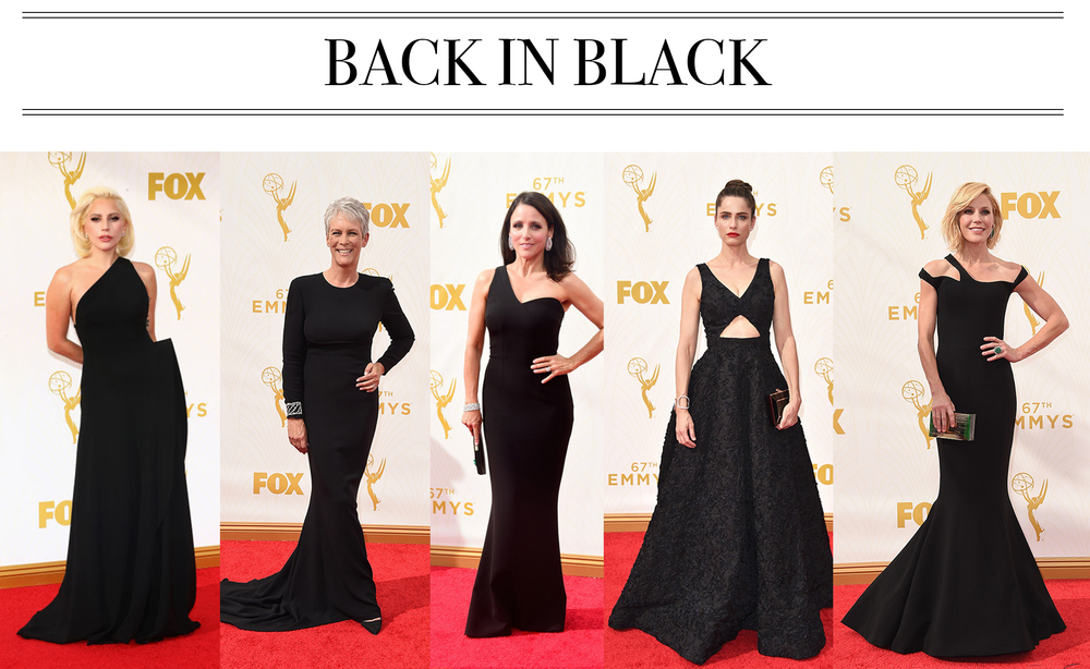 Red carpets started looking a little too bridal for my taste in the past few years. Black is back and in classic silhouettes, modernized with asymmetrical shoulders and cutouts. Lady Gaga in Brandon Maxwell, Jamie Lee Curtis in Stella McCartney, Julia Louis-Dreyfus in Safiyaa, Amanda Peet in Michael Kors, Julie Bowen in Georges Chakra.