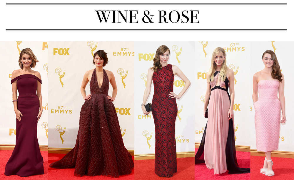 My two favorite kinds of wine: burgundy and rose! Loving the range of these ultra-fem, fall appropriate tones. Also... Maisie Williams is absolutely the cutest. Sarah Hyland in Zac Posen, Lena Headey in Zuhair Murad, Lauren Lapkus in ? (Does anyone know who designed this? It's so classic and stunning!), Joanne Froggat in J. Mendel, Maisie Williams in Ermanno Scervino.