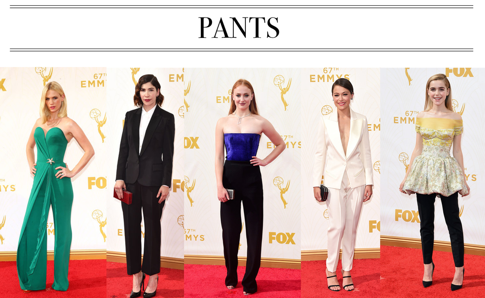 Saving the best for last! Pants stole the show, I hope this is a trend we see more of on the red carpet. My favorite look of the entire night? Sophie Turner. It's different, youthful and so fresh. GOT girls FTW! January Jones in Ulyana Sergeenko, Carrie Brownstien in Stella McCartney,Sophie Turner in Galvan, Tatiana Mansley in Bouchra Jarrar,Kiernan Shipka in Dior Couture.
