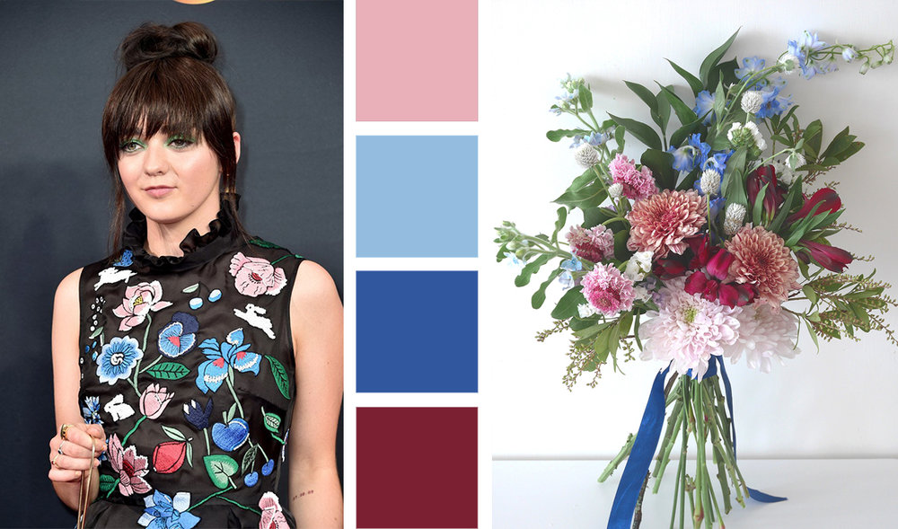 Bouquet Inspired by Maisie Williams in a Custom Markus Lupfer for The Emmys 2016