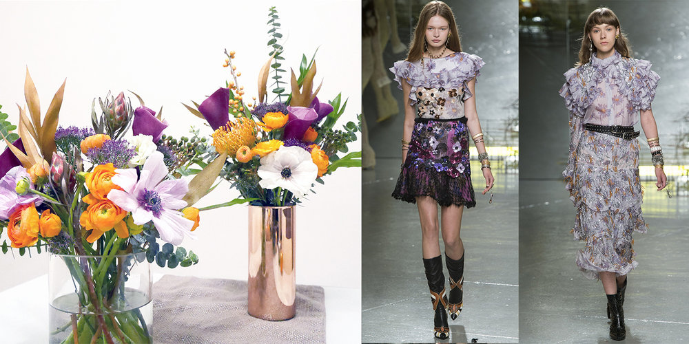 Lesson in violets: There's nothing like using the ol' color circle method to pair colors, in this case: purple and gold. (Thank you, Color Theory 101 from fashion school!) Ruffles were everywhere at Rodarte Spring 17, so a little leaf action for foliage doesn't hurt. Flowers used: ranunculus, anemones, eucalyptus and a mix of medium and small proteas.