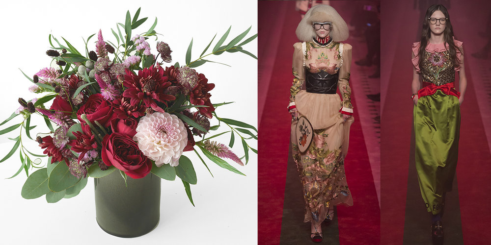 Red, bold and anything goes: Gucci Spring 17 hands-down has to be the most talked about, most pinterest-ed show right? Colors were deeply saturated and there wasn't a single look that wasn't completely over the top (in a good way) with embellishment! I love the idea of maximizing a floral arrangement the same way: throw all of the goodness in. Dahlias in multiple colors, garden roses, astilbes, and the foliage. Never forget the foliage.