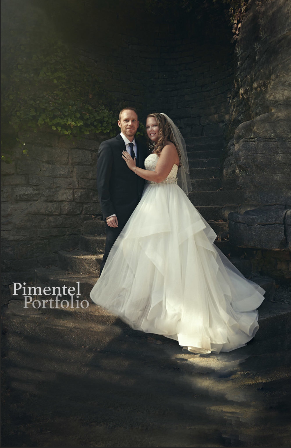 Bride and Groom Valerie and Justin pose for a portrait. Image by Pimentel Portfolio LLC