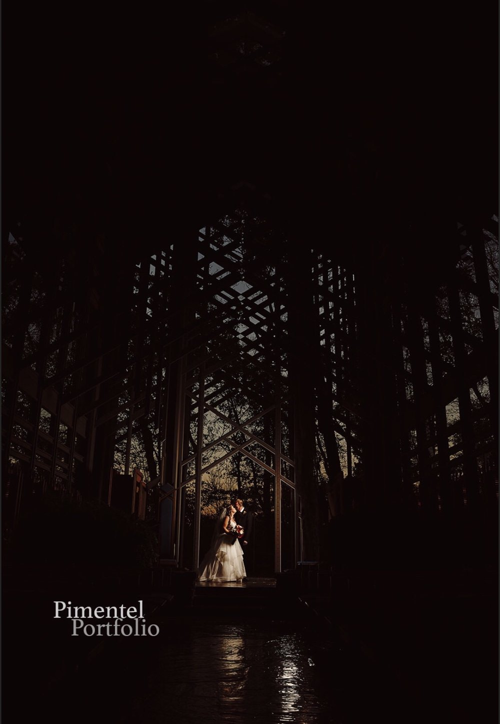Thorncrown Chapel was the location for this Wedding Portrait. Image by Pimentel Portfolio LLC