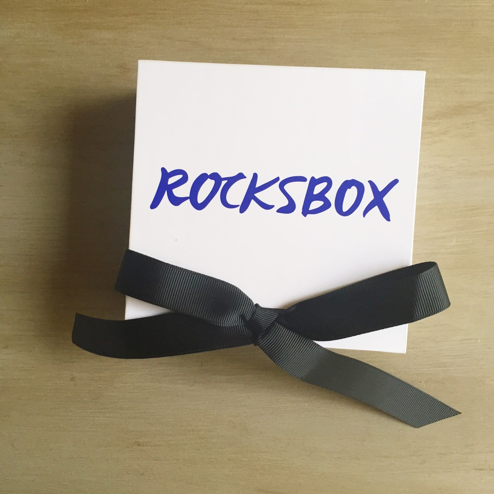 The Rocksbox box right when I look it out of the mail packaging.
