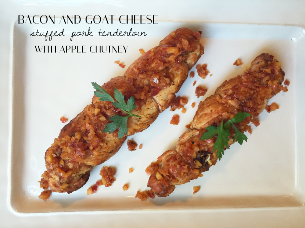 Delicious bacon And goat cheese stuffed pork tenderloin topped with apple chutney recipe | Four Threads