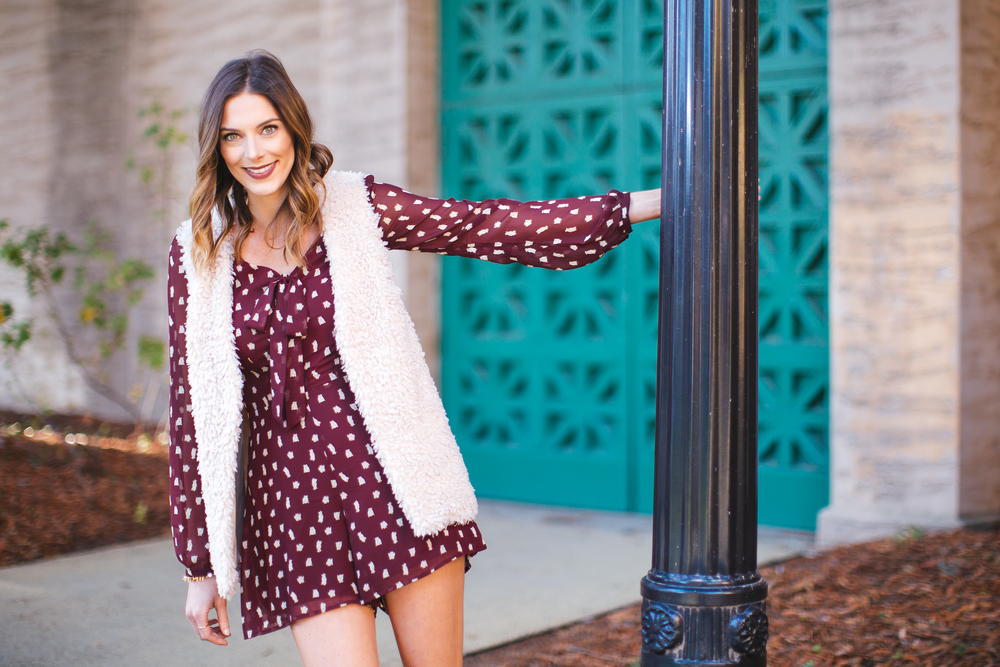Lauren Conrad's Own Romper and Faux Fur Vest