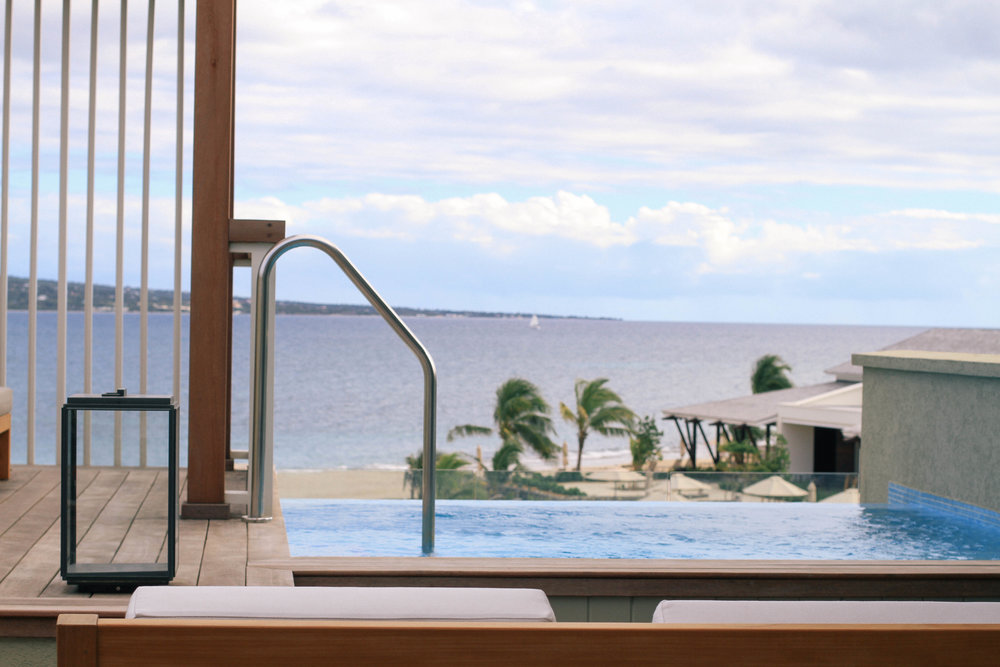 Our private plunge pool overlooking the ocean/Nevis.