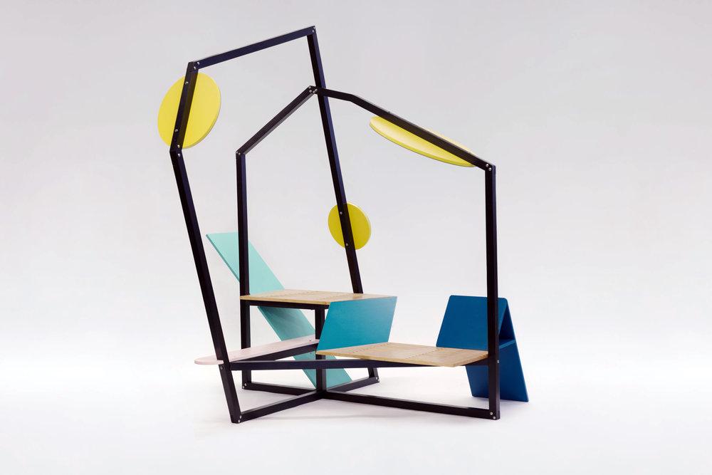 outdoor furniture, myriam rigaud, interior designer, e-designer, memphis design, parc bench