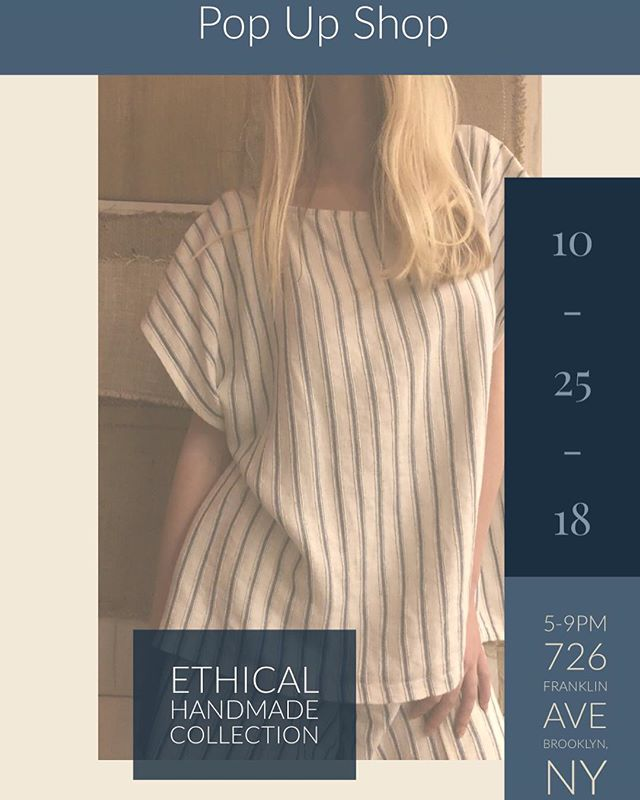 """Tomorrow we're popping up at @suzettelavalle boutique this from 5-9 pm.  We have some really special 1 of 1 fall items on sale such as pants, sweaters, and cozy tops all handmade by me using 100% natural materials and a zero-waste design method!  Be sure to stop by and shop your new favorite wardrobe staples we're offering 10% off everything in store only, see you there!  In support of the boutiques """"Plastic Free World"""" Campaign they will be gifting a free reusable tote with each purchase over $20 in efforts to elongate the use of plastic bags which only average 15 minutes per use!  Reuse, Reduce, Recycle 🌱♻️🌏 —————————————— #popupshop #popup #sustainablefashion #ecofriendly #ethicallymade #ethicalfashion #recycle #1of1 #naturalfibers #zerowaste #nycevents #brooklyn #nyc #fashion #nmbr09 #reducewaste #suzettelavalle #green"""