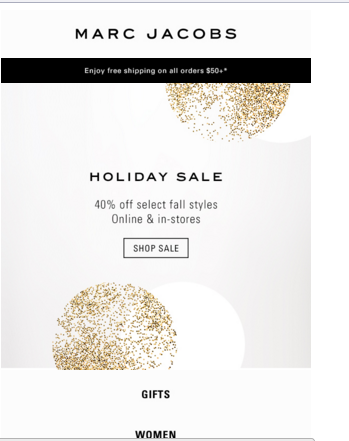 Marc Jacobs Holiday Ecommerce Email