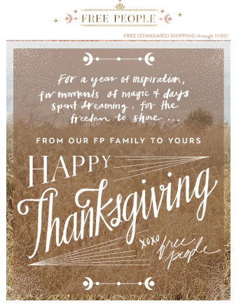 Free People Ecommerce Holiday Email