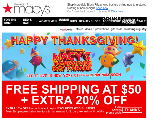 Macy's Ecommerce Holiday Email