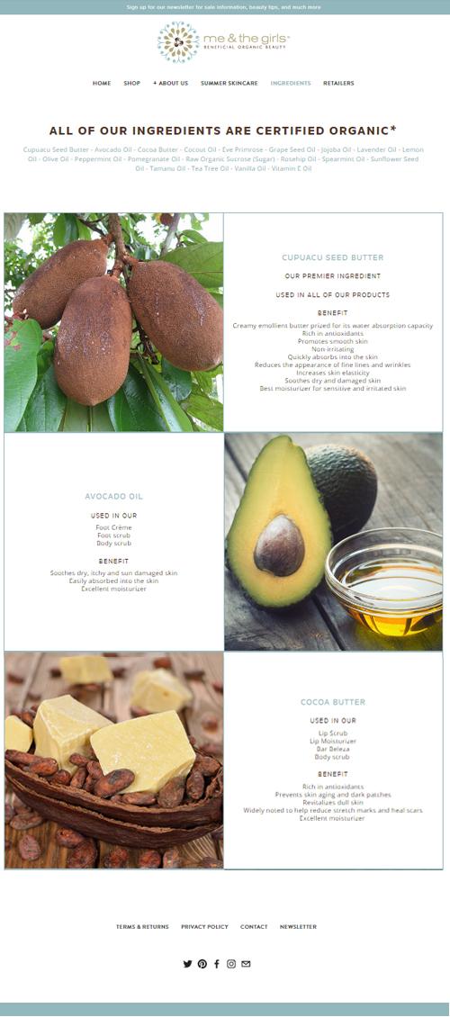 Ingredients Page